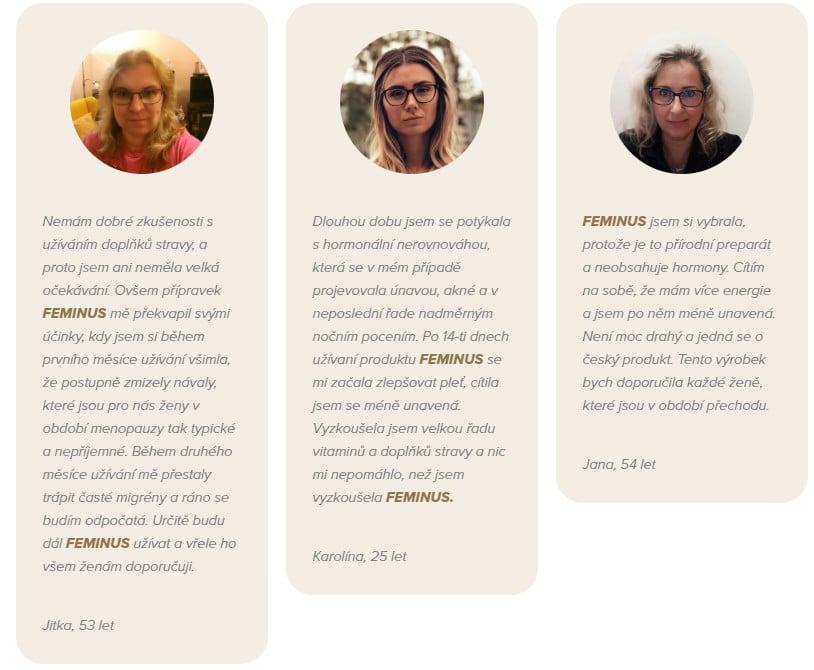 Recenze na FEMINUS od různých žen