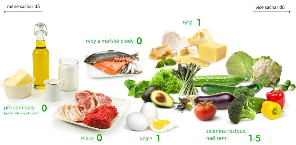 Grafické zobrazení surovin, které se doporučují konzumovat při nízkosacharidové dietě