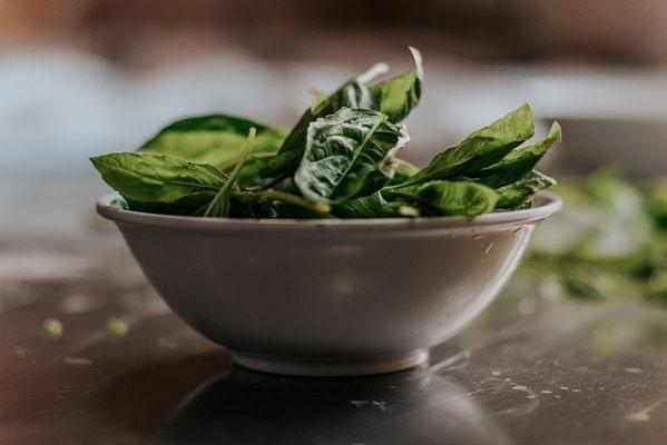 Čerstvé zelené listy špenátu v bílé misce.