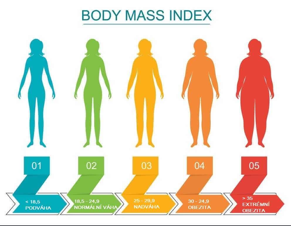 Ukázka, kdy má člověk podváhu, nadváhu a obezitu podle BMI