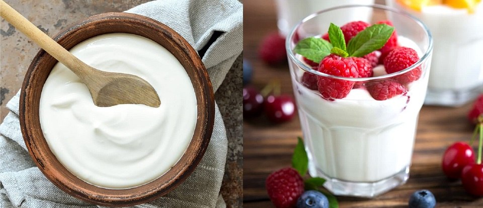 Zdravý snídaňový recept s domácím řeckým jogurtem a malinami.